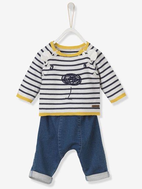 Conjunto de jersey bordado + pantalón denim para bebé - Rayas/Denim ...