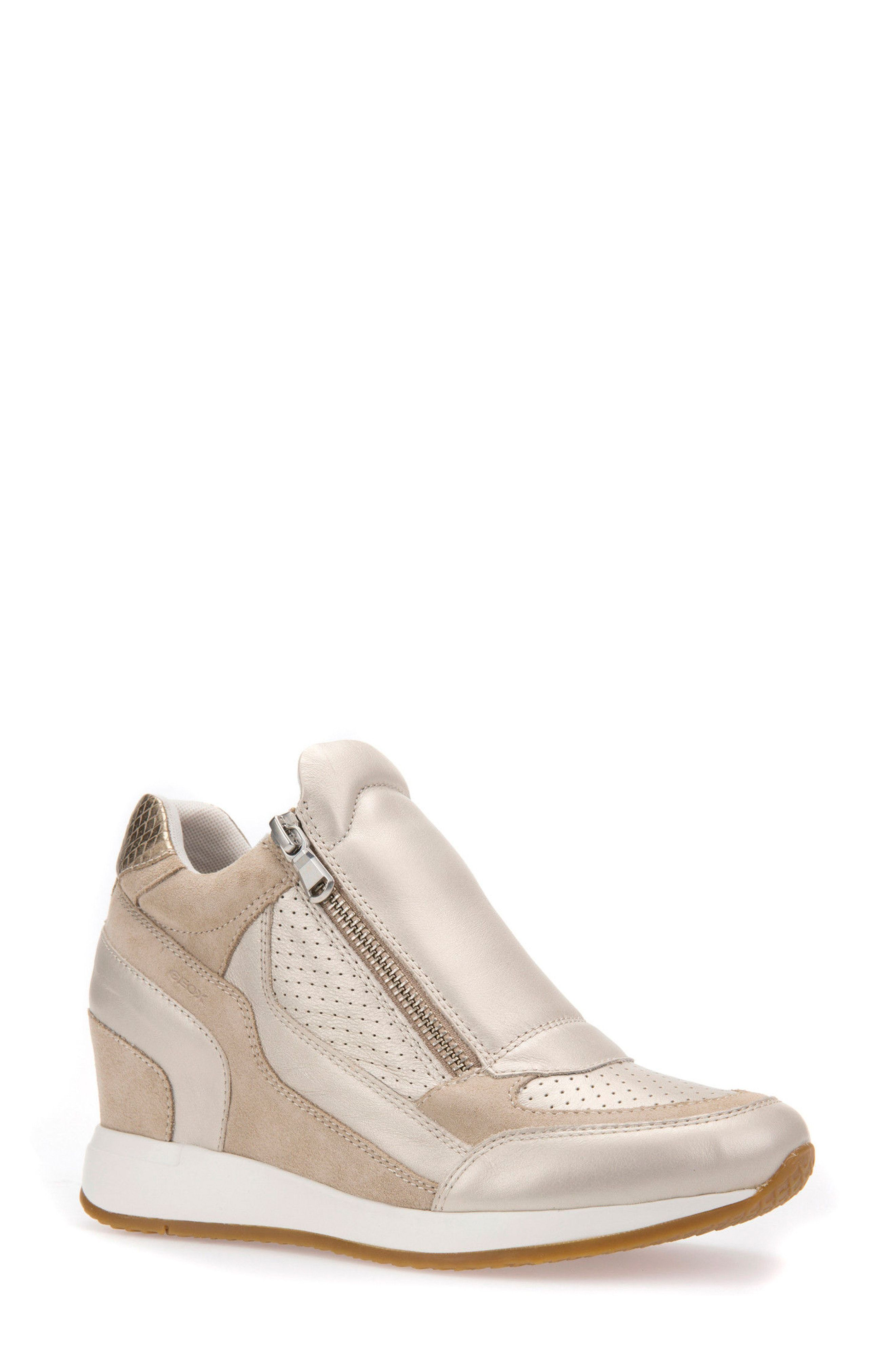 b08ffa7dcac Shop GEOX NYDAME WEDGE SNEAKER, PLATINUM LEATHER, starting at $130. Similar  ones also available. On SALE now!