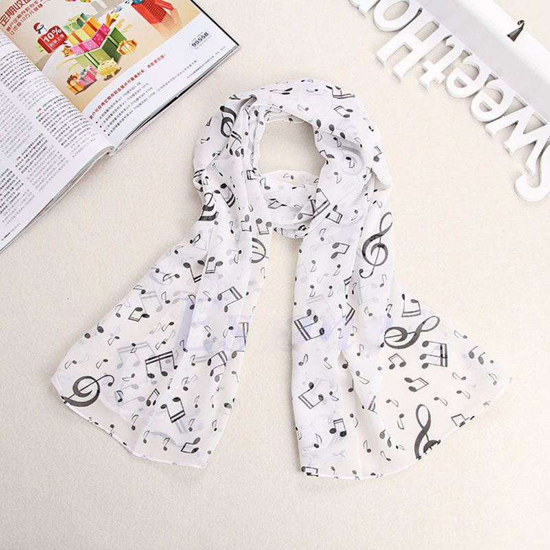 >> Click to Buy << 2017 New Fashion Musical Note Chiffon Neck Scarf Shawl Muffler Scarves Long Pretty Scarf White Useful #Affiliate
