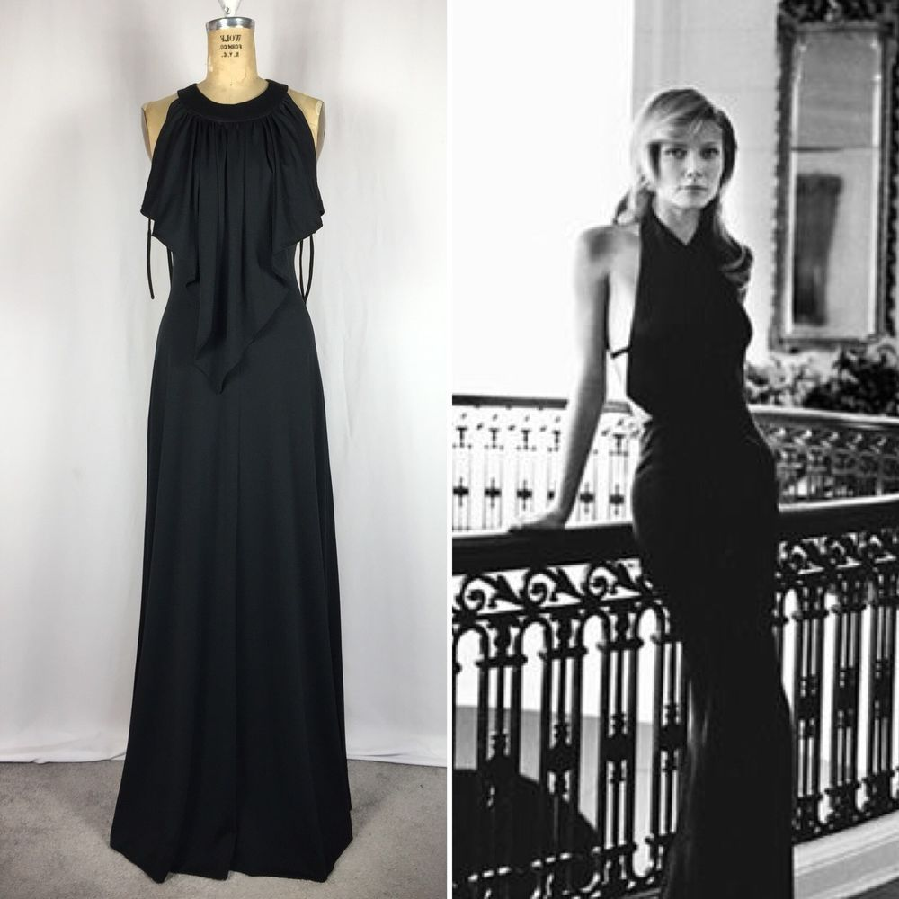 1970s vintage black polyester disco maxi dress
