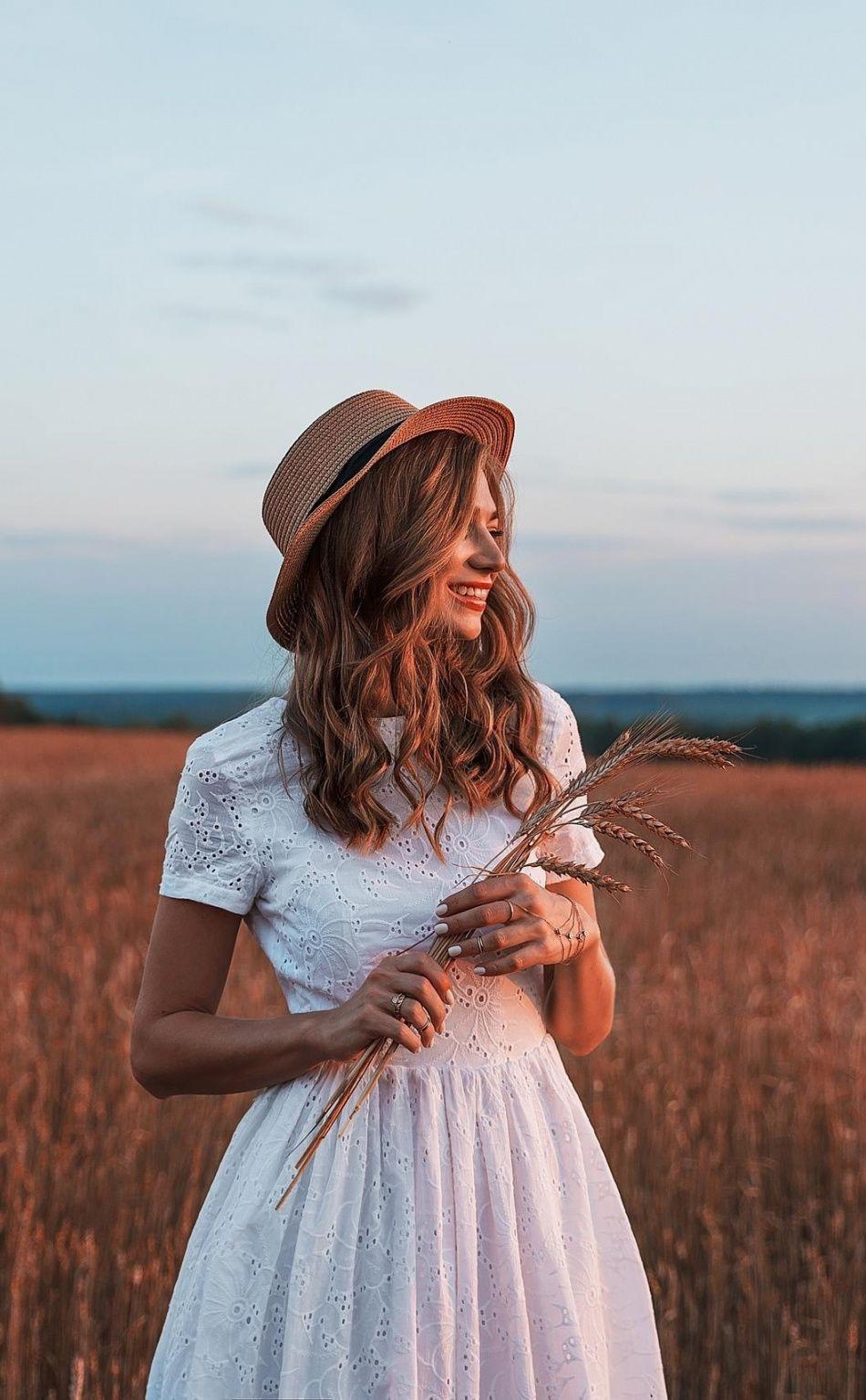 Makeup for black dress green eyes  Wheat farm smile white dress woman model x wallpaper