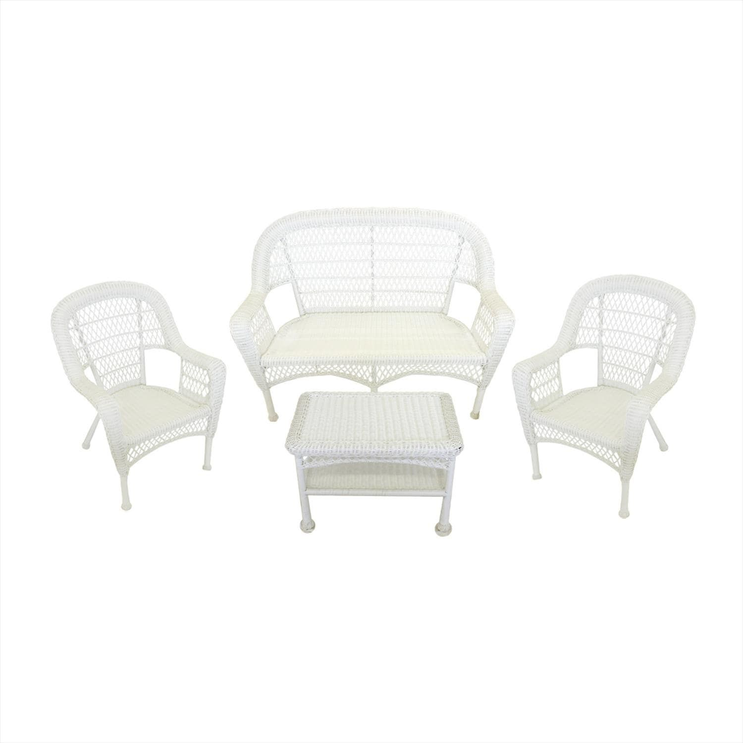 4 Piece White Resin Wicker Patio Furniture Set Loveseat 2