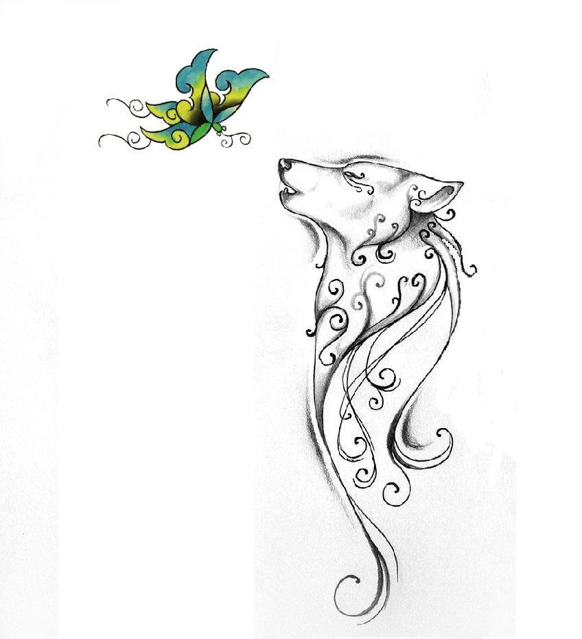 Wolf And Butterfly Lupus Tattoo Small Wolf Tattoo Animal Tattoos