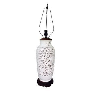 Blanc de Chine Reticulated Lamp-$250