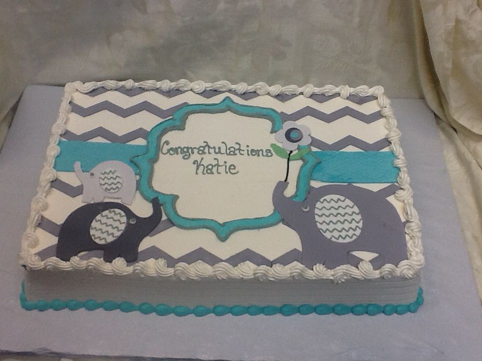 Elephant themed baby shower sheet cake Baby shower cakes