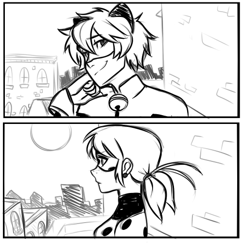 Cat Noir and Ladybug by taylordraws