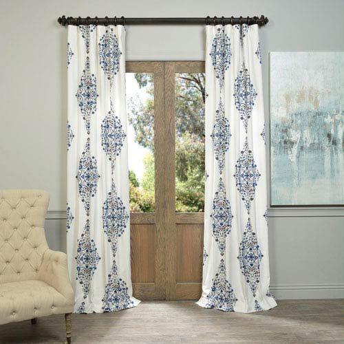 Half Price Drapes Kerala Blue 96 X 50 Inch Printed Cotton Twill Curtain Single Panel Prtw D41 96 Half Price Drapes Printed Cotton Curtain Curtains