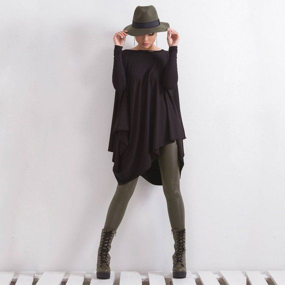 b8dd8a226eb Plus Size Tunic/ Maxi Tunic/ Black Woman Tunic/ Long Sleeve Tunic/ OVERSIZE  Tunic/ Asymmetrical Tuni