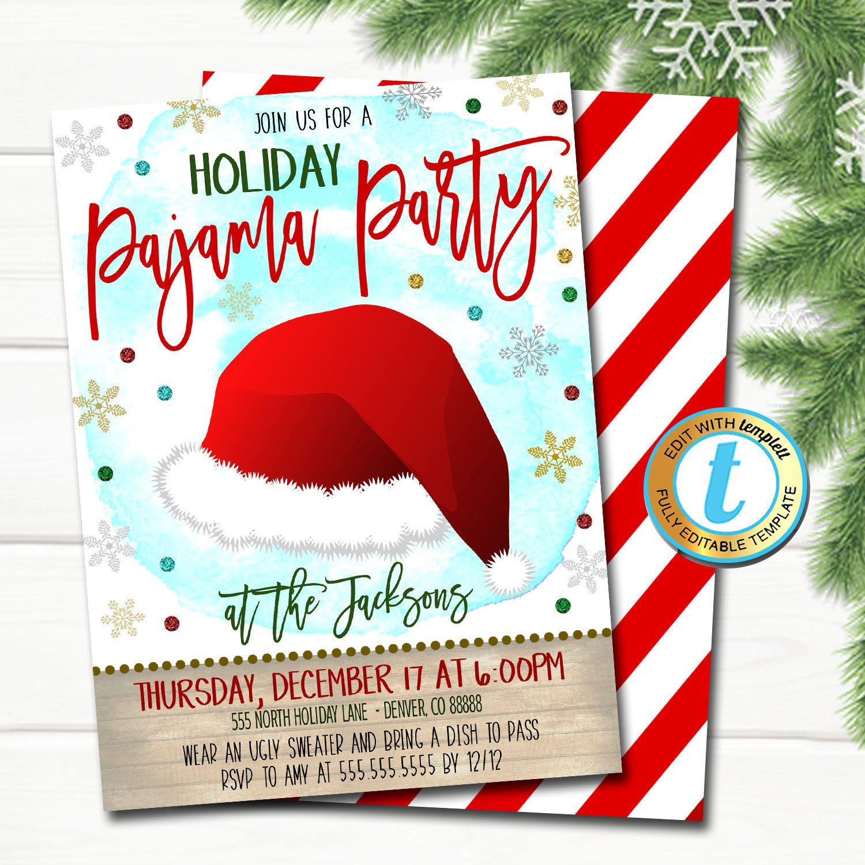 Christmas Pajama Party Invitation Modern Christmas Rustic Etsy In 2020 Christmas Pajama Party Party Invitations Christmas Party Invitations