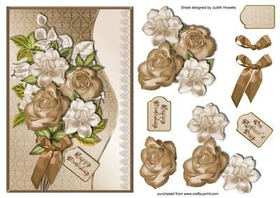 Coffee And Cream Bouquet With Waved Border on Craftsuprint designed by Judith Mary Howells - A full bouquet in coffee and cream colours with satin bow and on a damask background with a waved border and lace edge. Decoupage pieces are included as well as a blank greeting tag. - Now available for download!