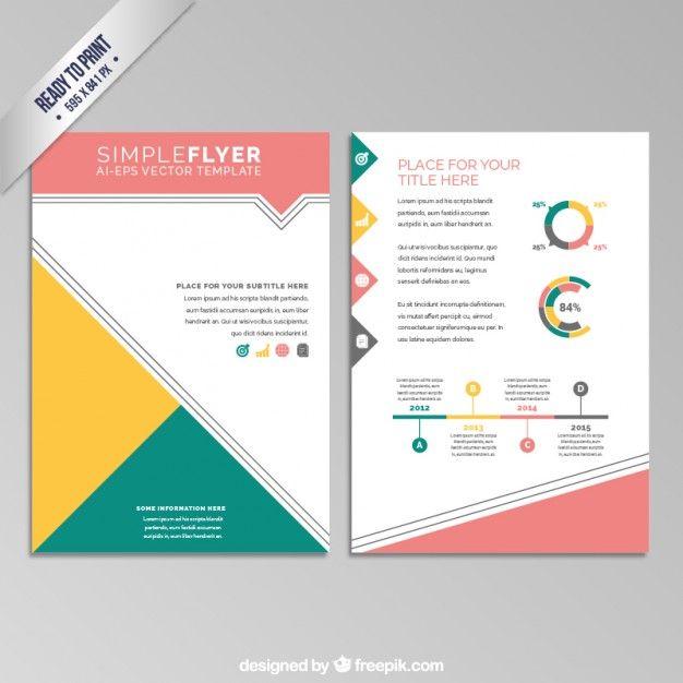 Folleto geométrico colorido Vector Gratis brochure Pinterest