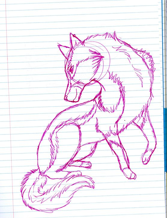 Purple wolf sketch