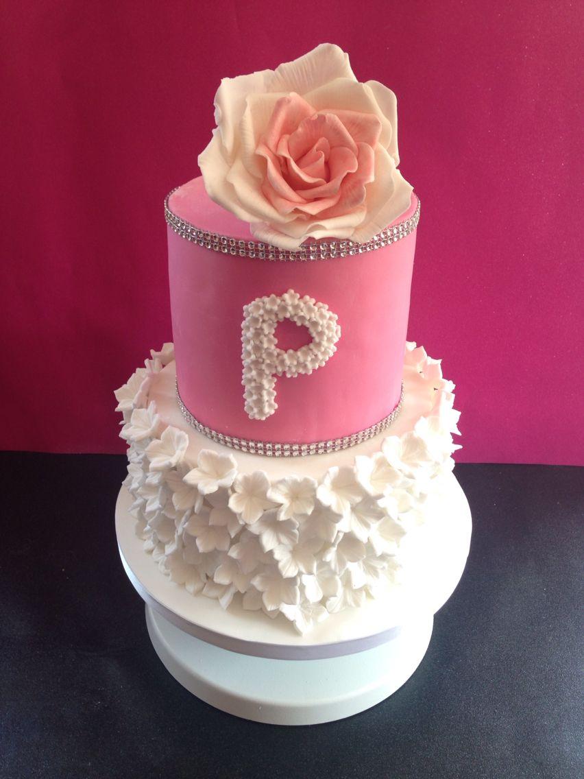 Girls flowery christening cake