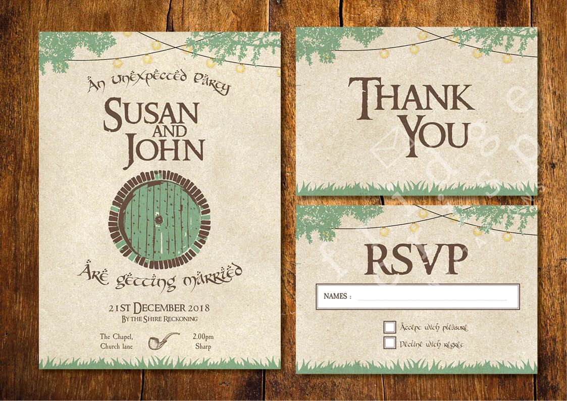 Hobbit Style Wedding Invitation Lord Of The Rings Shire Themed
