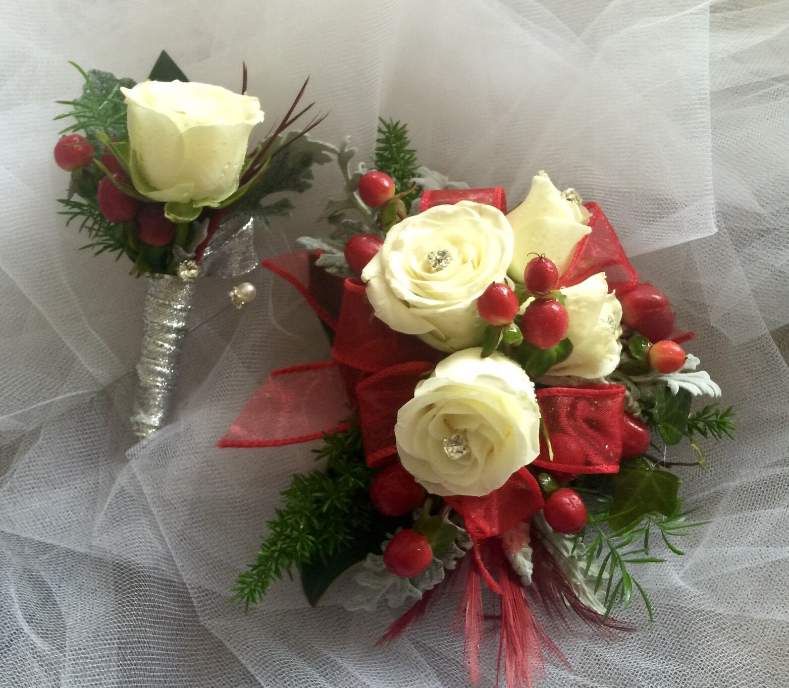White Rose Red Silver Wrist Corsage & Boutonniere