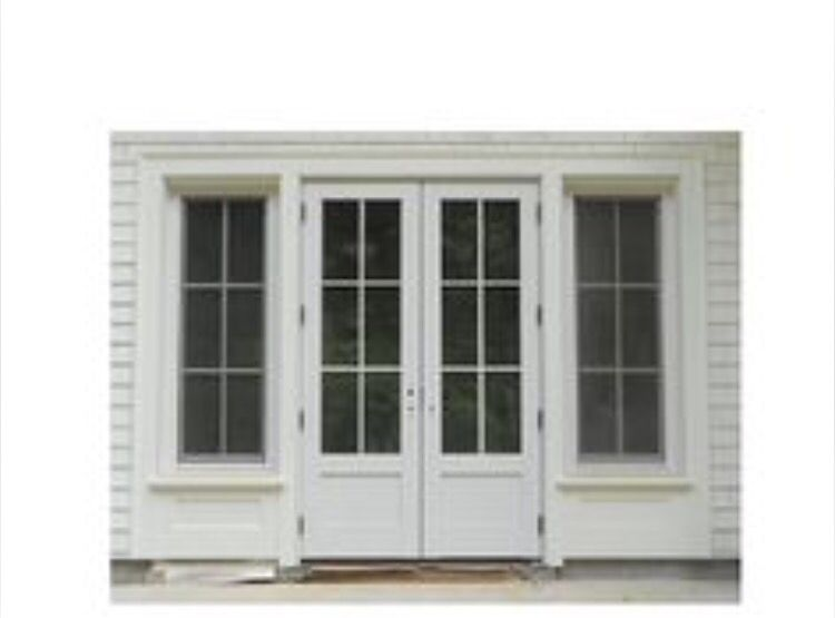 French doors with solid wood bottom panel and matching - Exterior glass panel french doors ...