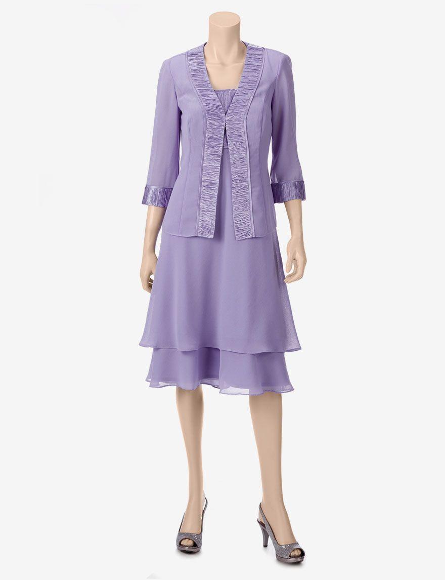 Dana Kay 2-pc. Purple Shirred Jacket & Dress Set – Misses - Evening ...