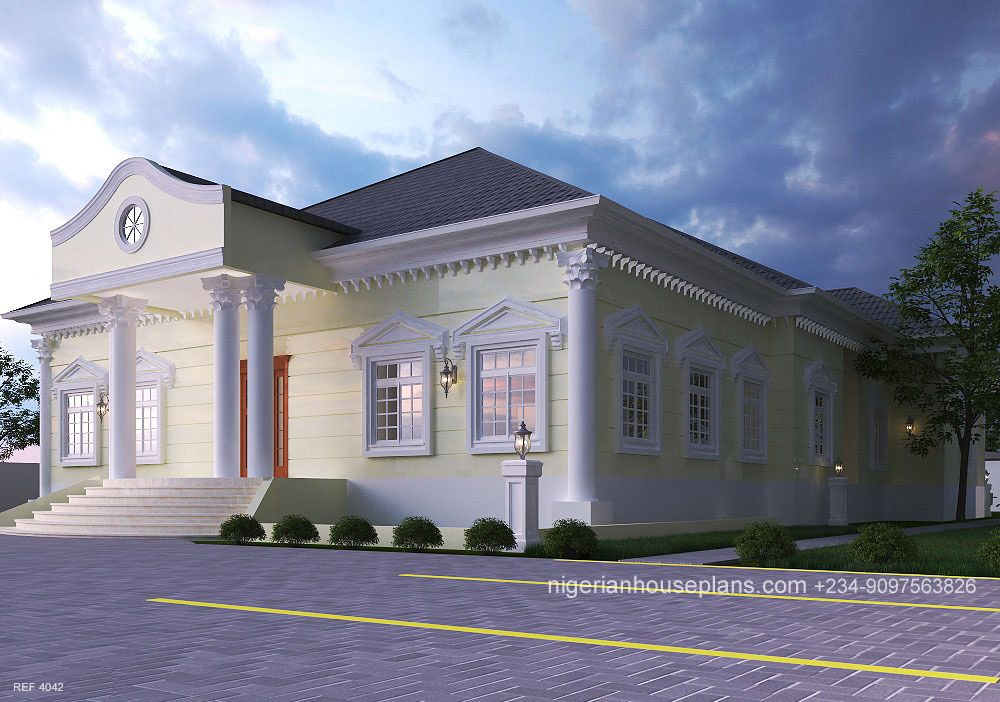 4 Bedroom Bungalow Ref 4042 In 2020 4 Bedroom House Designs House Plans Mansion House Plan Gallery