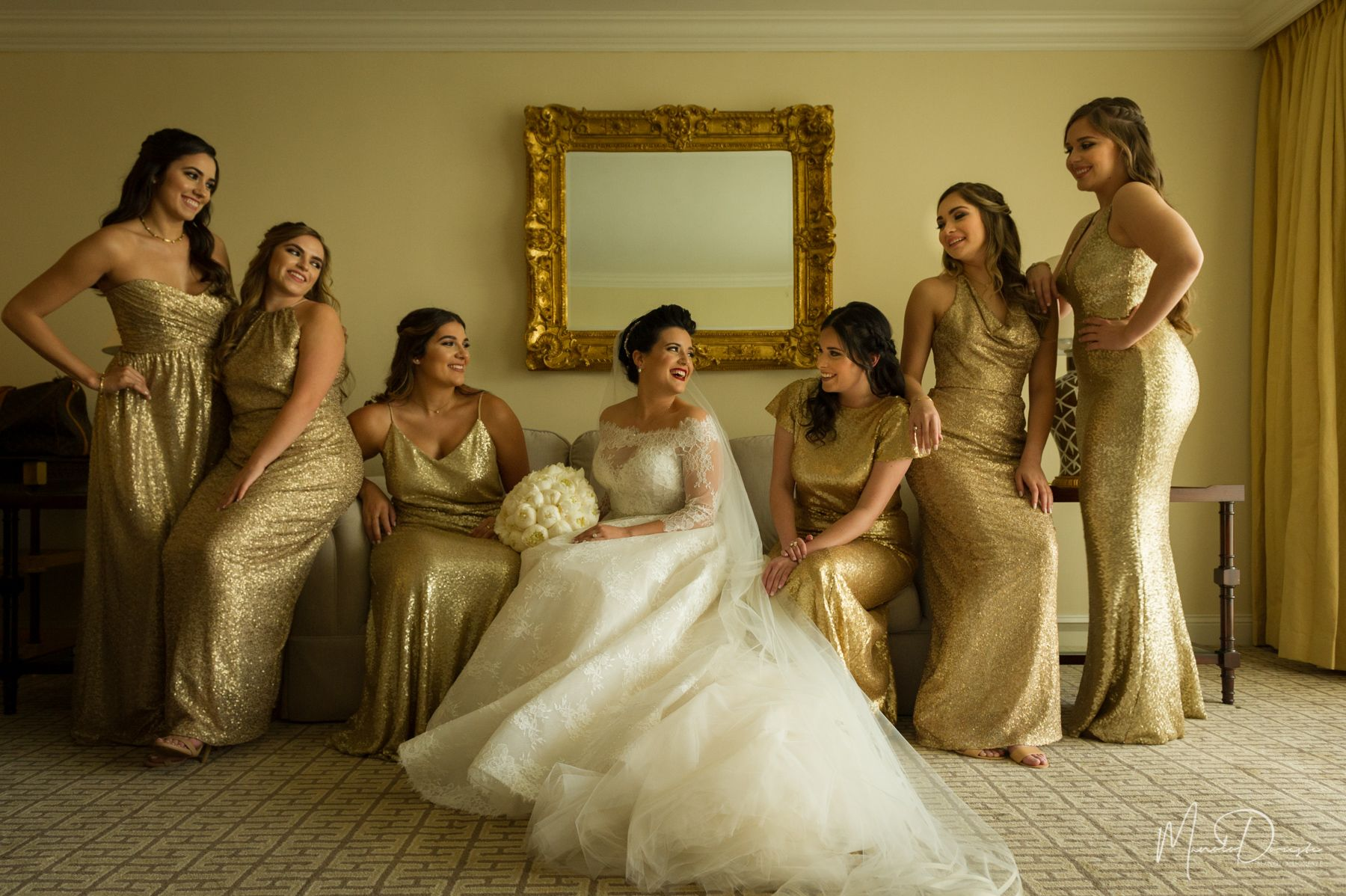 Gold bridesmaids dresses and beautiful bridal gown wedding at gold bridesmaids dresses and beautiful bridal gown wedding at trump national doral miami ombrellifo Images