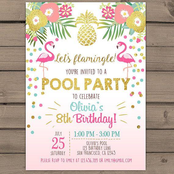 Pool party invitation flamingo tropical birthday invitation luau convite digital via whatsapp stopboris Gallery