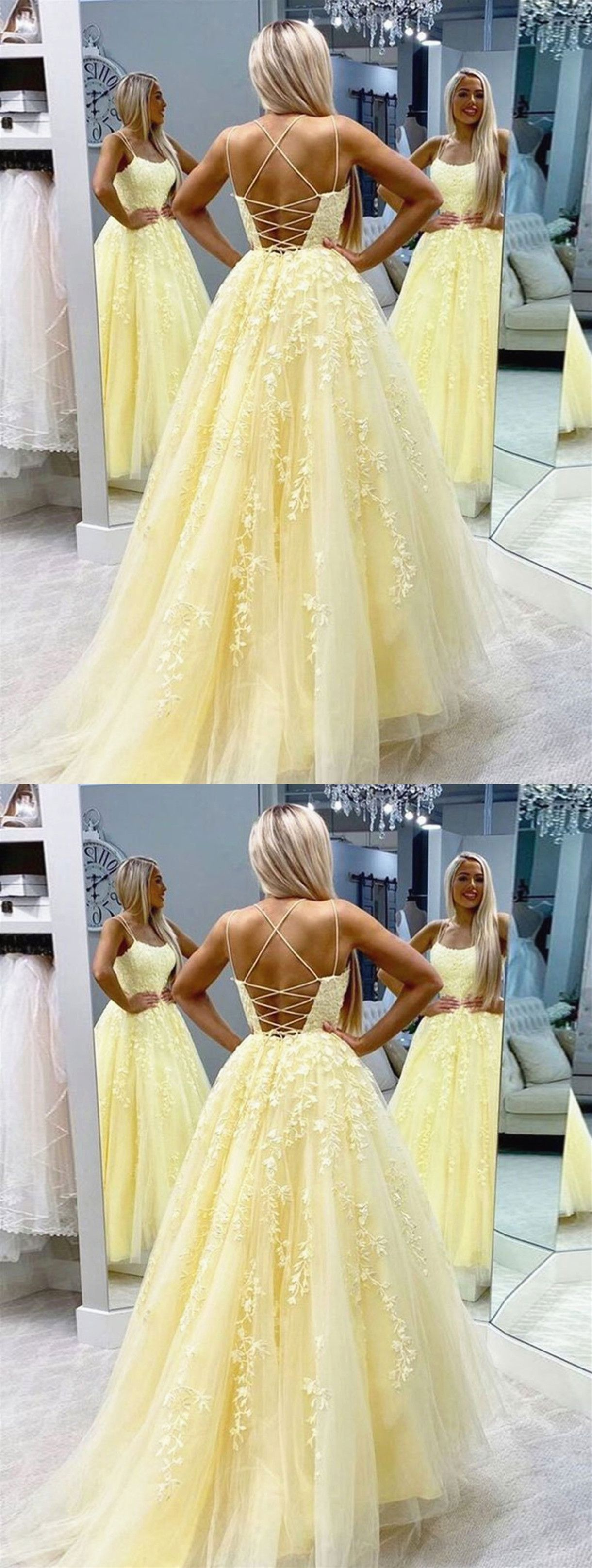 Backless long yellow lace prom dresses backless yellow