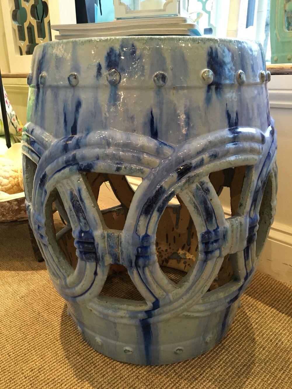 Light Blue / Dark Blue Garden Stool. $350.00.