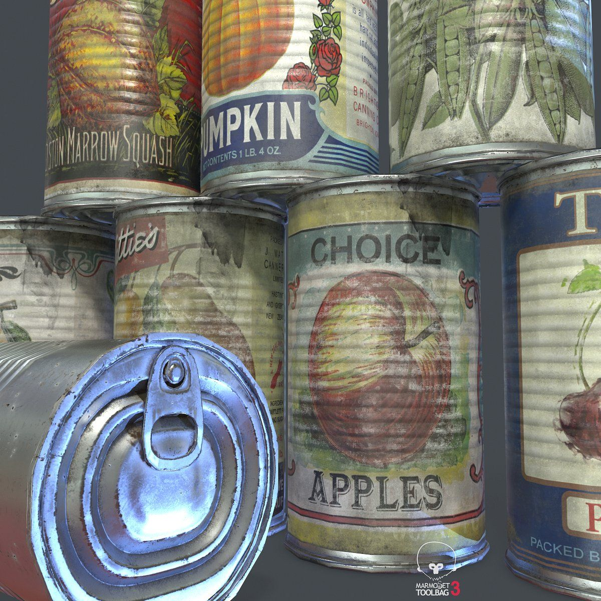 10 Old Tin Can With Food Canning Tin Can Tin