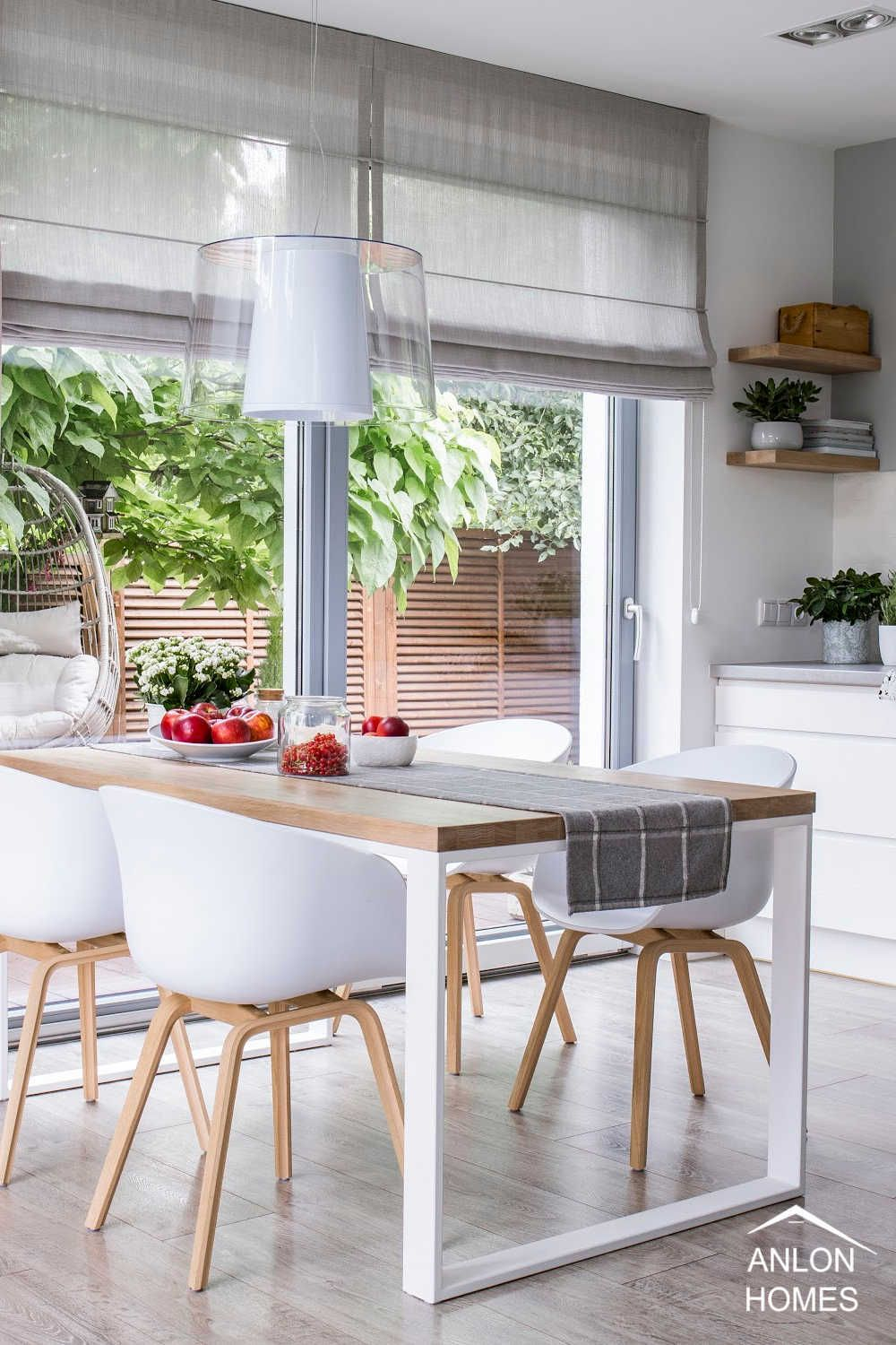Roman Shades On Trend For 2021 In 2021 Kitchen Window Coverings Modern Window Treatments Modern Dining Room