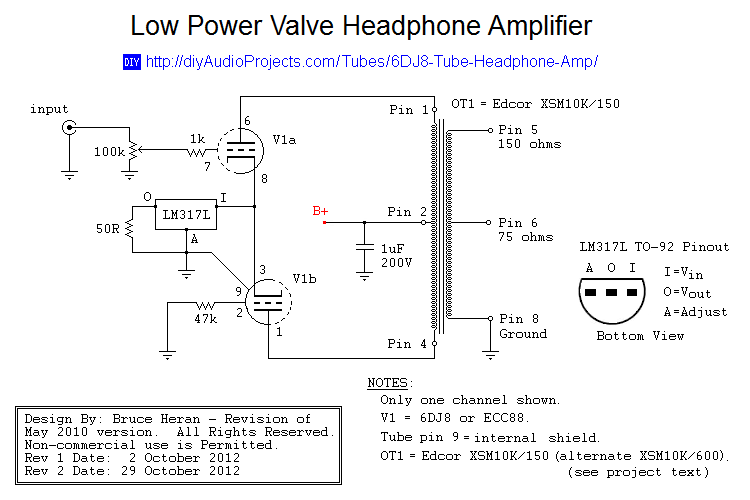 6dj8 ecc88 tube headphone amplifier schematic diy audio video rh pinterest nz Electronic Schematics Symbols Circuits DIY Electronics Schematics