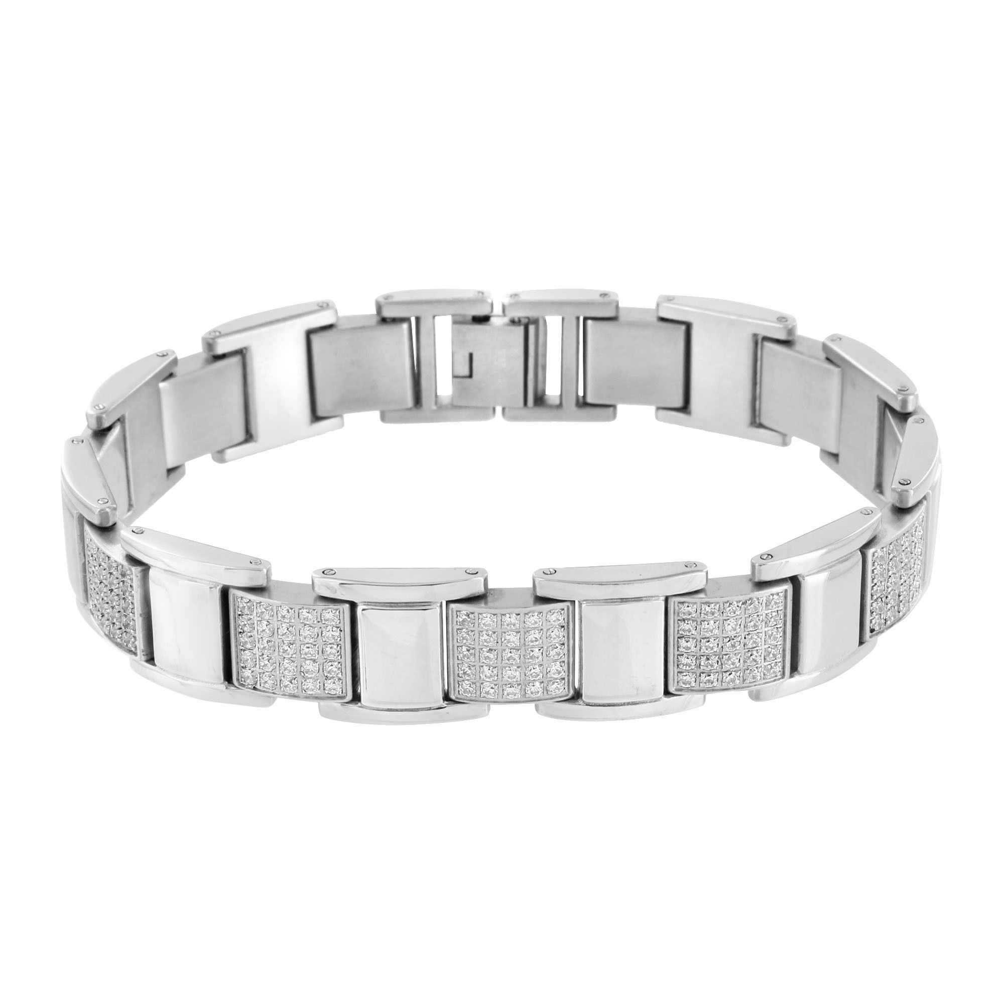 White gold finish bracelet stainless steel products