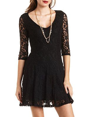 d2d1fab56c012 Flared Lace Skater Dress  Charlotte Russe
