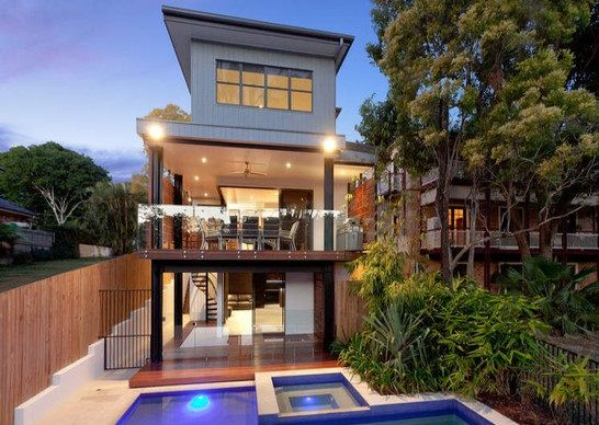 Amazing Inspirations for Minimalist Home Design: Stunning Contemporary Backyard Landscape With Pool And Wood Fence James Riverfront House