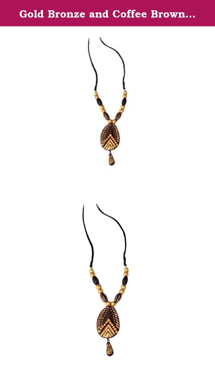 Gold bronze and coffee brown color terracotta necklace hand crafted