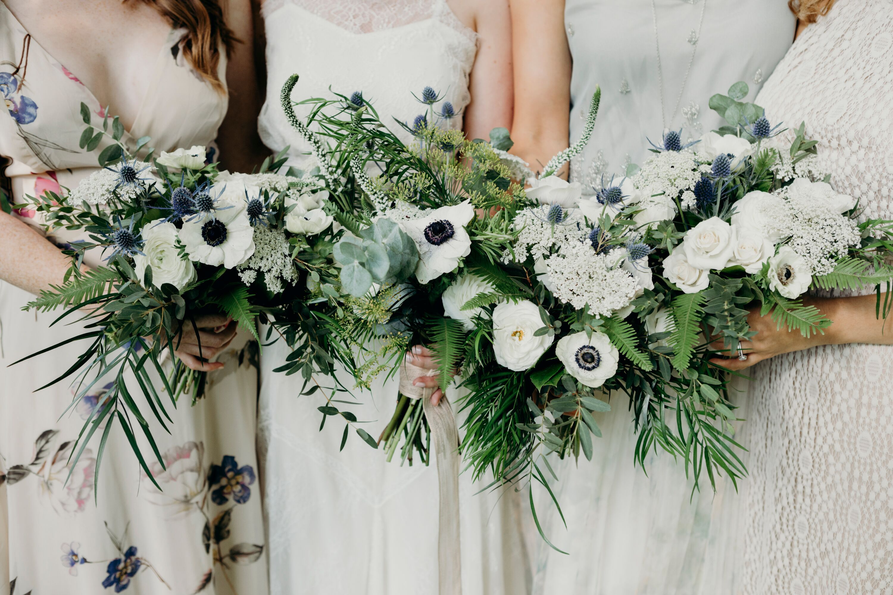 Whimsical Bouquets Of Anemones Roses Herbs And Greenery Wedding Bridal Bouquets White Bridal Bouquet Bridesmaid Bouquet White
