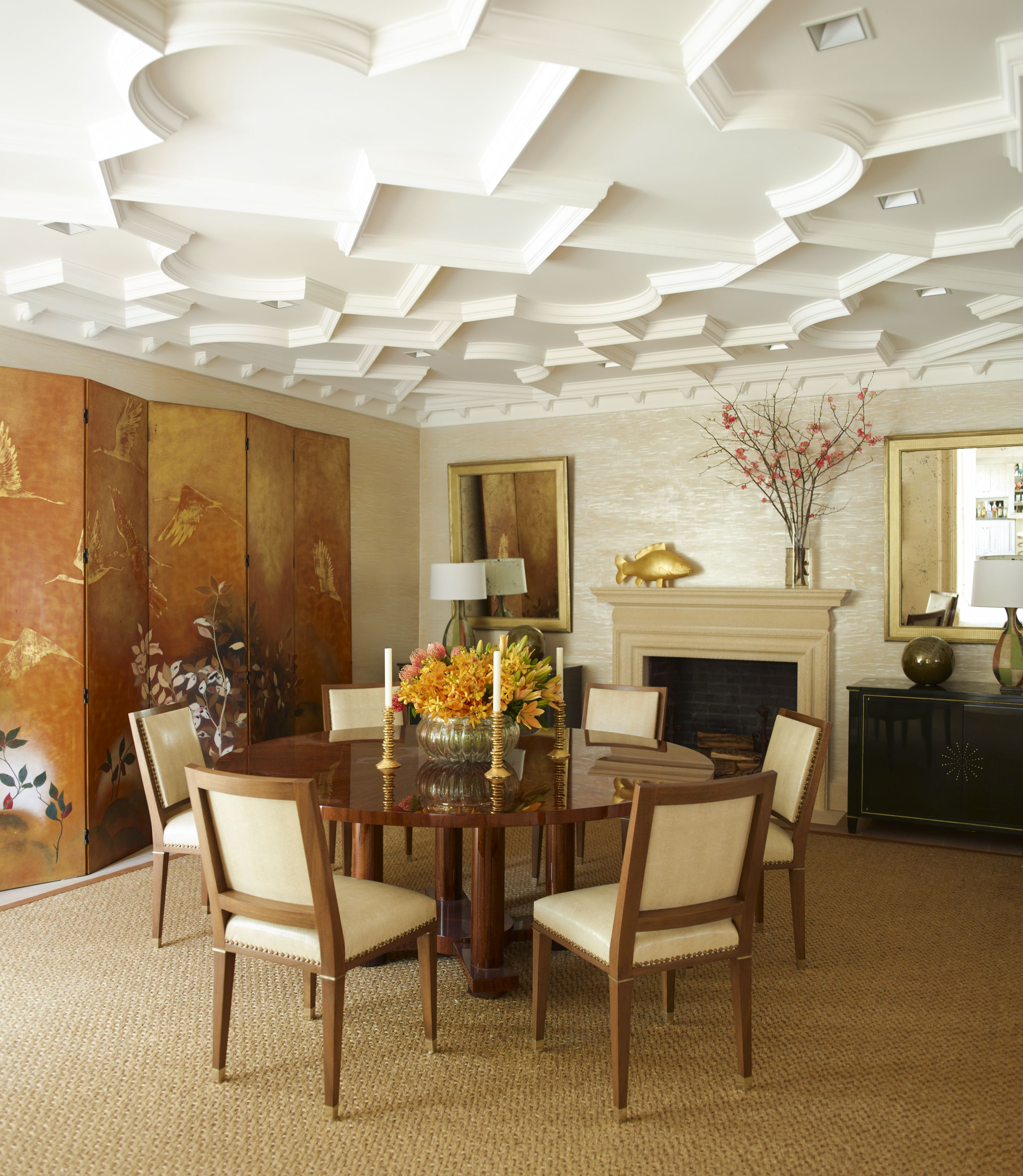 A Large Scale Decorative Plaster Pattern Brings Texture To The Dining Room Ceiling Which