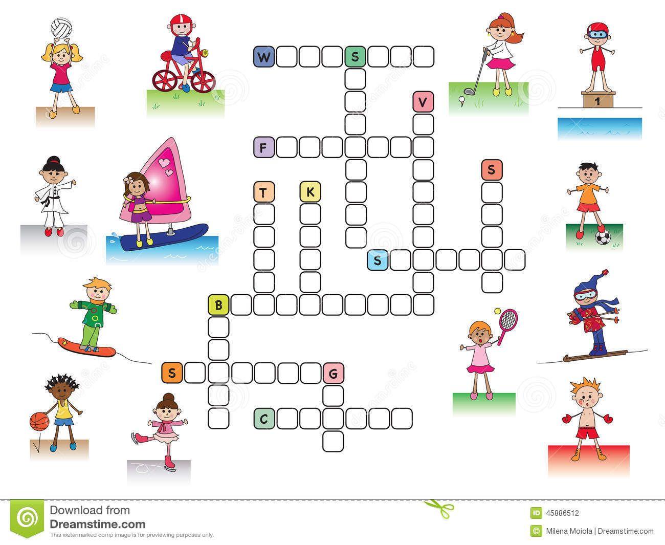 Crucigrama Stock De Ilustración Ilustración De Deportes Crucigramas Crucigrama Para Niños Juegos Deportivos Para Niños