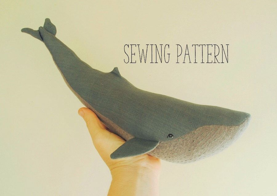 Blue whale soft toy sewing pattern / stuffed animal / sea creature ...