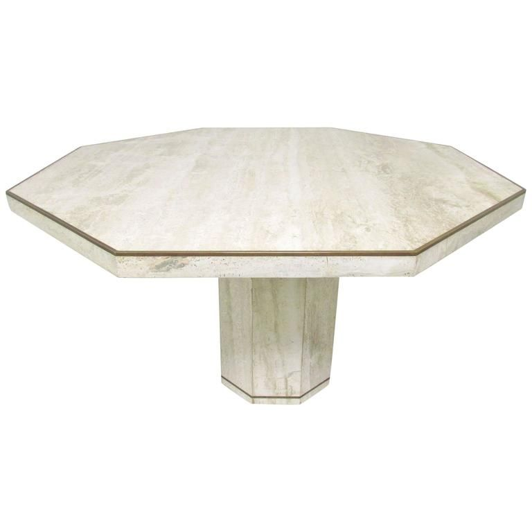 Italian Travertine Marble Octagonal Dining Table By Roche Bobois 1
