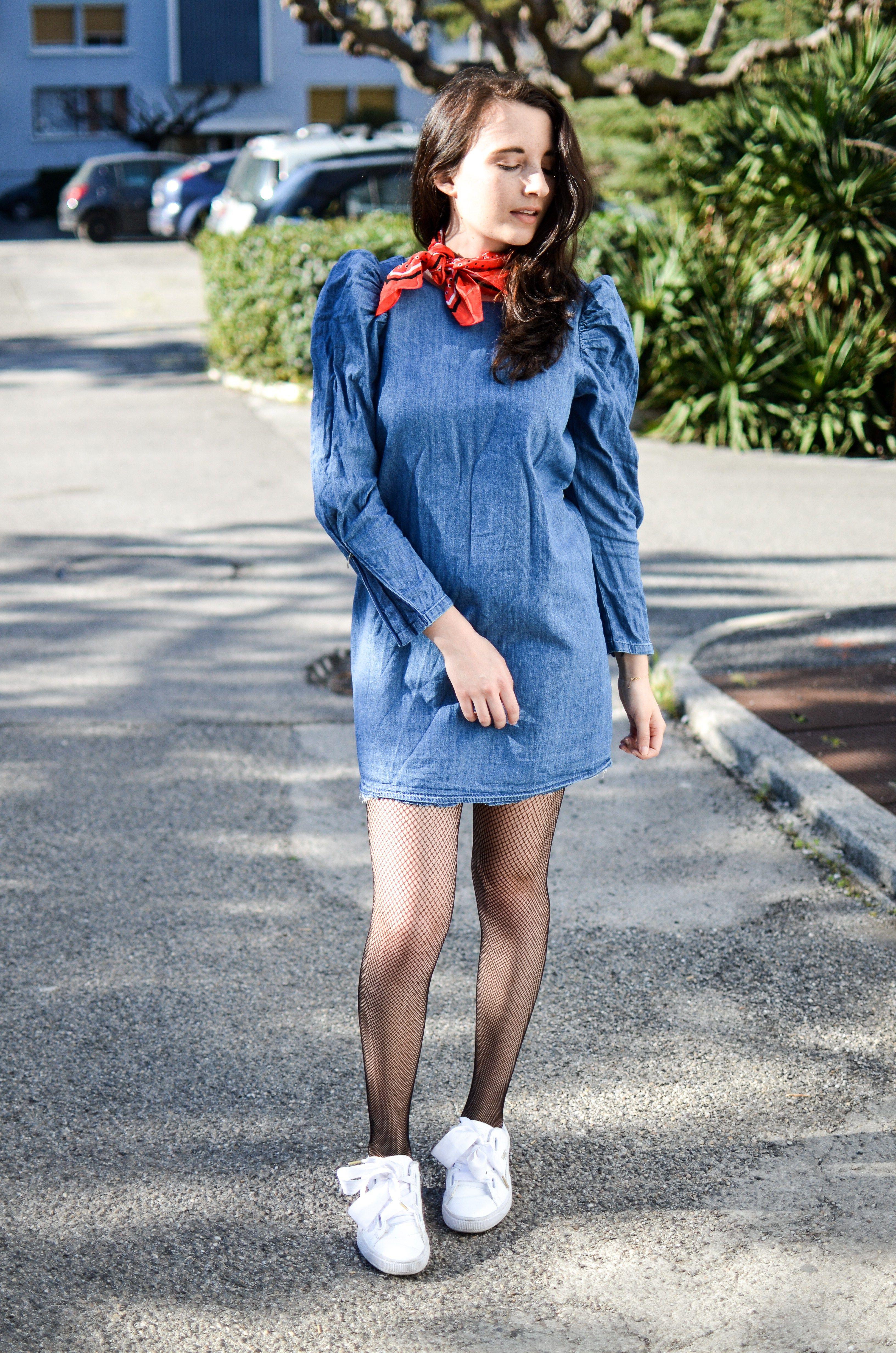4ae97f890f9 blogueuse mode robe jeans volants zara puma heart patent collants résilles Blog  Mode Tendance