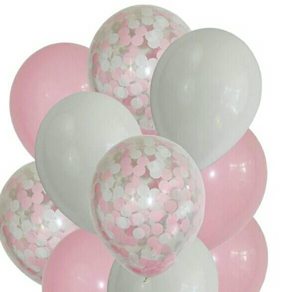 Pretty in Pink Confetti Balloons with Pink and White Balloon - confeti