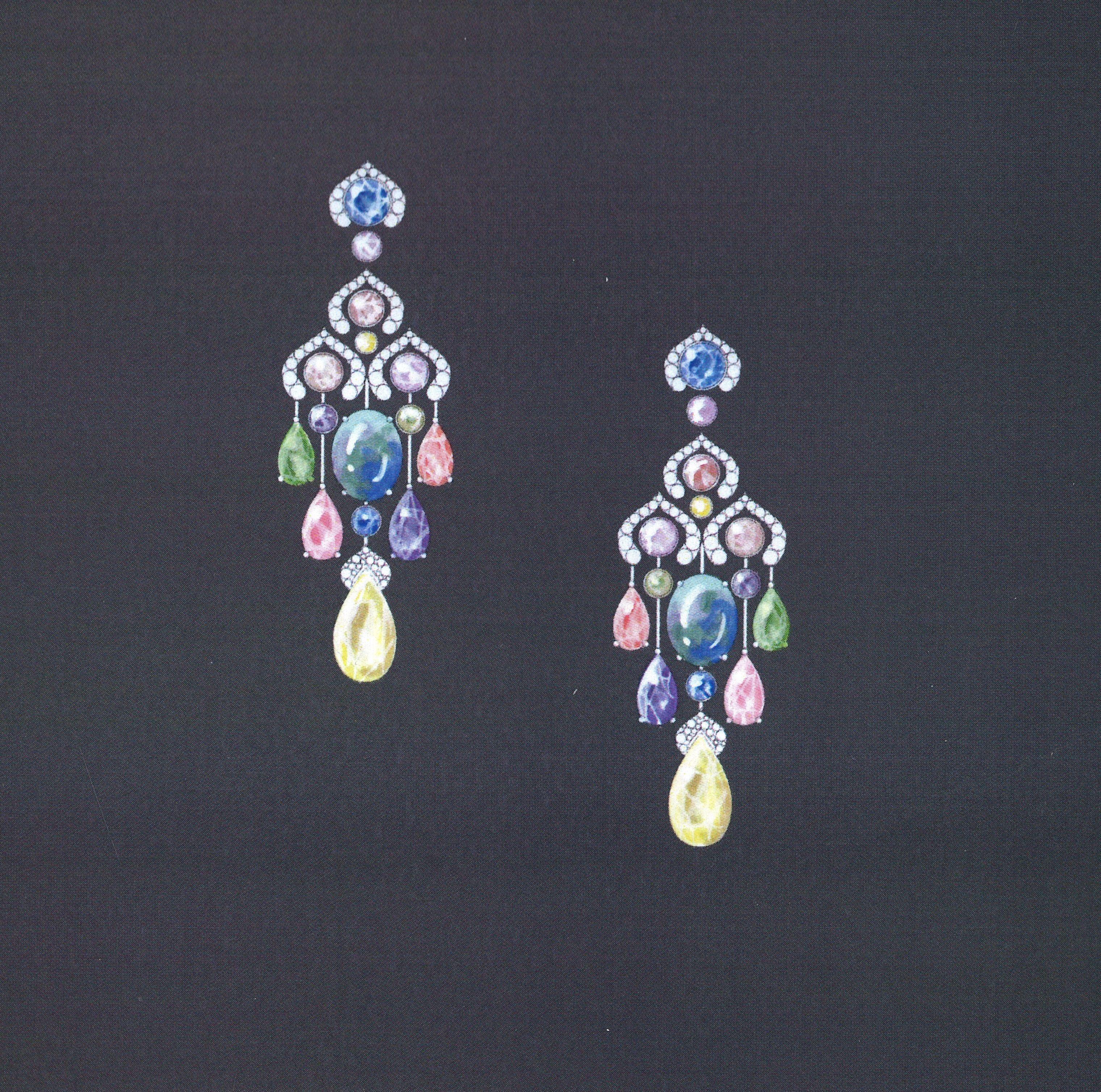 Sketch Of The Fabergé Délices D Éte Black Opal Chandelier Earrings