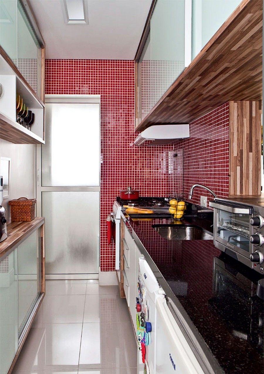 Cozinha Com 1 60m De Largura Arm Rio Em Ambas Paredes Sendo Do  ~ Armario De Cozinha Bancada Acozinha Americana Decorada