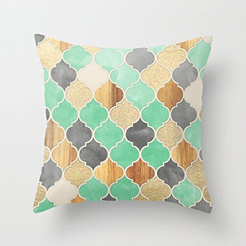 Charcoal, Mint, Wood, Gold Moroccan Pattern Pillow Case 20x20(two sides) Decorative Pillow Case http://www.amazon.com/dp/B0138G6Y48/ref=cm_sw_r_pi_dp_uX1swb0J819NJ