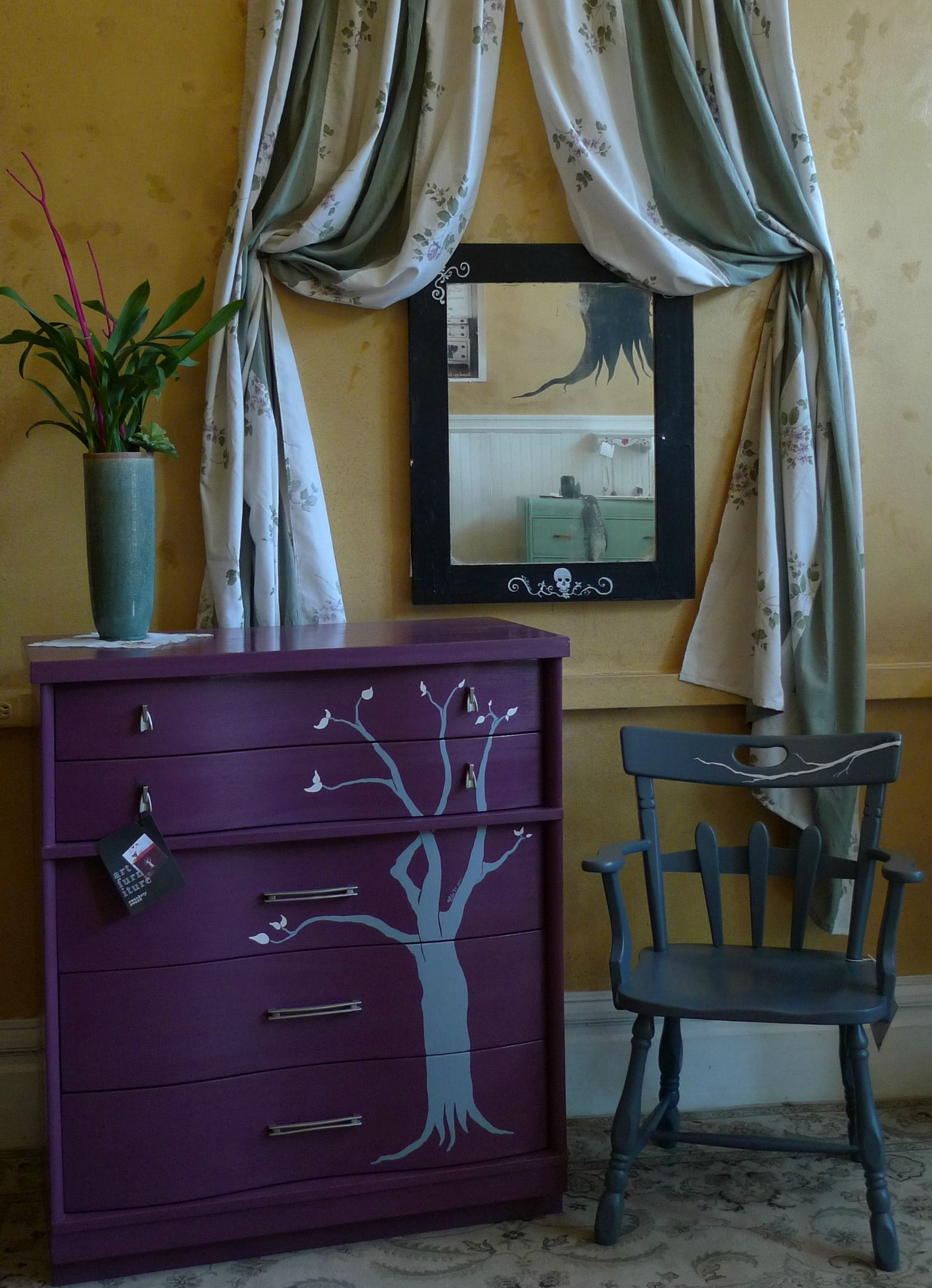 LOVE the plum purple and grey We could paint a dresser for you