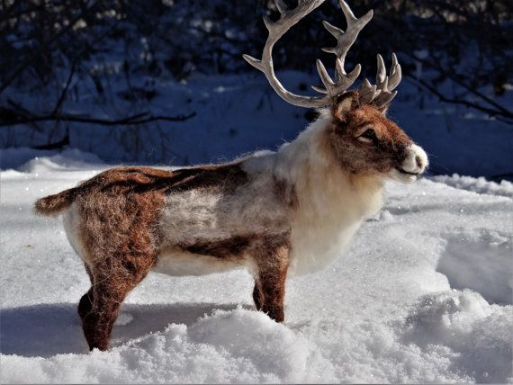 Reindeer Caribou Needle Felted Wool Animal Created by Carol Rossi Just For You!
