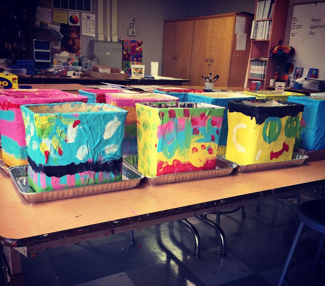 Paper mache cartons painting day paper mache paint for Paper mache activities