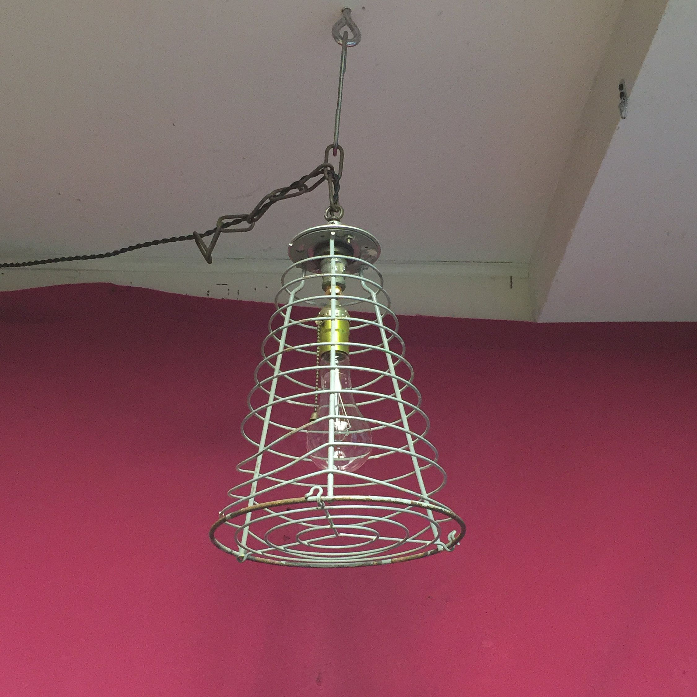 Unique Industrial Cage Pendant, Original Hanging Factory Light, Machine Age,