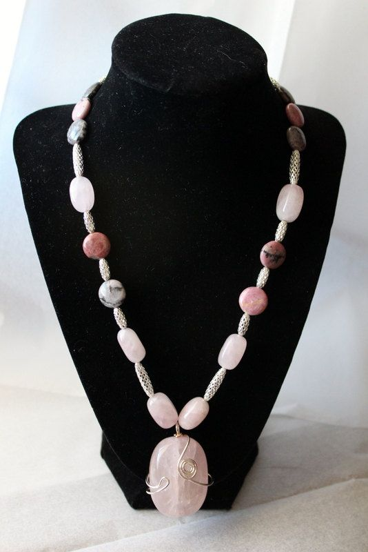 Rose Quartz Jasper Disk Beads  Silver by LINDABJEWELRYDESIGNS, $65.00