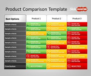 Free Product Comparison Powerpoint Template Or Service Plan Table