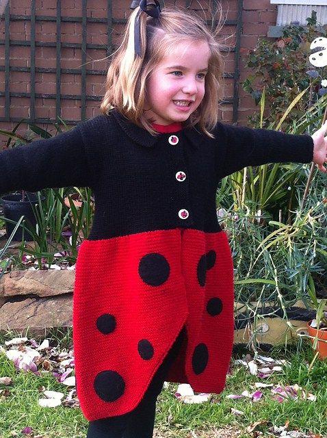 Free Knitting Pattern For Ladybug Sweater Coat Knitting